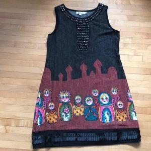 Aryeh Russian Nesting Doll Dress sz L NWOT